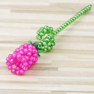 Bead flower kits, pink, Rose, Size of item when completed [approximately] 4cm x 25cm, [ZCZ0020]
